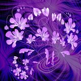 Phantasy purple composition with flower on fractal background Royalty Free Stock Photo