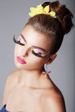 Phantasy. Spectacular Fashionable Woman with Dramatic Stage Makeup. Glam Royalty Free Stock Photos