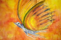 Phantasyfjäril Färgrik vattenfärgmålning Arkivfoton