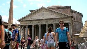 Phanteon, ancient roman temple with tourists, Rome. Rome, Italy - June , 2016: Phanteon, ancient roman temple in Piazza della Rotonda square with tourists stock video footage