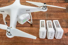 Phantom drone with spare batteries Royalty Free Stock Photos