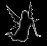 Phantom fairy. White transparent ghostly fairy on a black background Stock Photography