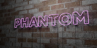 PHANTOM - Glowing Neon Sign on stonework wall - 3D rendered royalty free stock illustration Royalty Free Stock Image