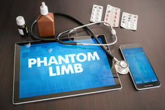 Phantom limb (neurological disorder) diagnosis medical concept o. N tablet screen with stethoscope royalty free stock photography