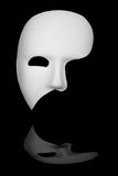 Phantom of the Opera Mask. White phantom of the opera half face mask isolated on black background stock photography