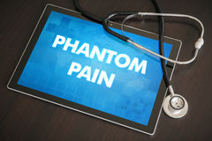 Phantom pain (neurological disorder) diagnosis medical concept o. N tablet screen with stethoscope royalty free stock photos