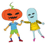 Phantom and pumpkin. Halloween doodles composition card with a couple of funny characters isolated on white Stock Photos