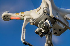 Phantom 3 quadcopter drone flying Royalty Free Stock Photos
