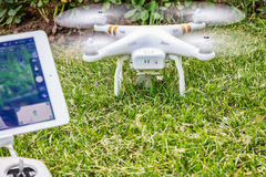 Phantom 3 quadcopter drone with iPad Royalty Free Stock Photography