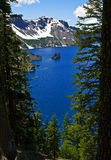 Phantom Ship, Crater Lake. Crater Lake, Oregon, with remote island dubbed the Phantom Ship Stock Images