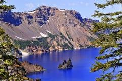 Phantom Ship Island Crater Lake Oregon. Crater Lake Reflection, Phantom Ship Island, Blue Sky Oregon Pacific Northwest Royalty Free Stock Images