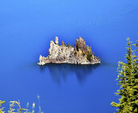 Phantom Ship Island Crater Lake Oregon. Crater Lake Reflection, Phantom Ship Island, Blue Sky Oregon Pacific Northwest Royalty Free Stock Photo