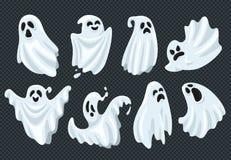 Phantomgeist gespenstischer Halloween-Geist Fliege mit furchtsamem Gesicht Gespenstische Erscheinung im weißen Gewebevektor-Illus stock abbildung