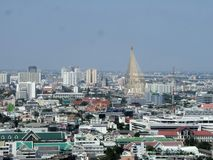 Pharam Nine bridge and Bangkok city center overview Royalty Free Stock Photo