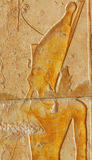 Pharaoh. Detail of Pharaoh (possibly Tuthmoses III) wearing the double crown of upper and lower Egypt, at the mortuary temple of Queen Hatshepsut at Thebes in Stock Image