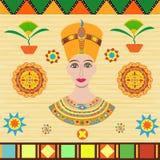 Pharaoh Cleopatra lub Nefertiti przedstawia w antycznym egipcjaninie Zdjęcie Royalty Free