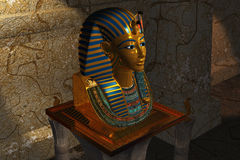 Pharaoh death mask in museum Stock Photo