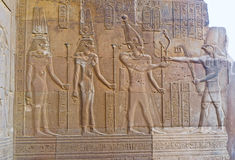 The Pharaoh and God Horus. The wall relief of Cleopatra III, Cleopatra II and Ptolemy VIII in front of eagle-headed god Horus, Kom Ombo, Egypt Royalty Free Stock Photography