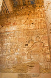 The Pharaoh and his subjects. The ancient relief depicts the Pharaoh and his subjects, bringing him riches, Habu Temple, Luxor, Egypt stock images