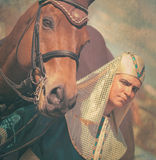 Pharaoh with horse vintage toned Stock Photography