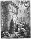 Pharaoh orders Moses to take the Israelites. Out of Egypt - Picture from The Holy Scriptures, Old and New Testaments books collection published in 1885 Royalty Free Stock Images