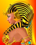 Pharaoh Queen Profile, close up. Profile of Egyptian woman Pharaoh Queen on abstract orange and red background. Artistic close up of Cleopatra or Nefertiti would Royalty Free Stock Photos