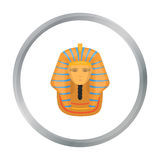 Pharaoh`s golden mask icon in cartoon style isolated on white background. Ancient Egypt symbol stock vector illustration Stock Images