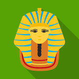 Pharaoh`s golden mask icon in flat style isolated on white background. Ancient Egypt symbol stock vector illustration. Stock Images