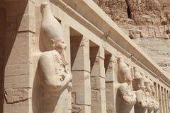 Pharaoh sculptures of Hatshepsut Temple Stock Photo