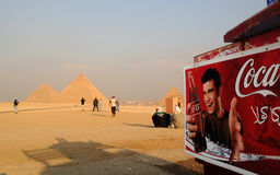 Is the Pharaoh thirsty?. Coca Cola is sell near the Pyramids in Giza, near Cairo, Egypt Stock Images