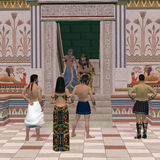 Pharaoh Throne Hall. A group of Egyptian people come to Pharaoh for his advise on affairs in the Old Kingdom stock photos