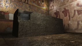 Pharaoh tomb in ancient Egypt. A 3D rendered image of a tomb in ancient Egypt. You see a marble sarcophagus in the middle of a mummy grave. At the background old vector illustration
