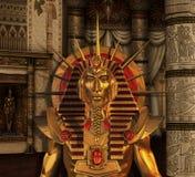 Pharaohstaty i jordfästningkammare royaltyfri illustrationer