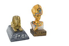 Pharaon d'or de l'Egypte et sphinx d'or Image stock