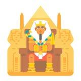 Pharaon s'asseyant sur la conception de bande dessinée de trône Images stock