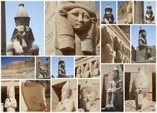 PHARAON statua W świątyni Obrazy Stock