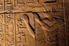 Pharaons avec Dieu sur le temple de Horus Photos libres de droits