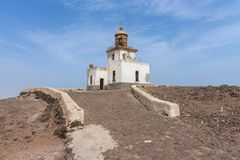 Phare abandonded par nègre Cap Vert de Morro photo libre de droits