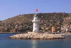 Phare avec le drapeau turc Images libres de droits