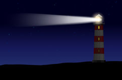 Phare contre le ciel étoilé de nuit illustration libre de droits