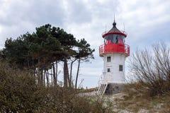 Phare croisé d'inscription de côte baltique d'île de Hiddensee, Allemagne photographie stock libre de droits