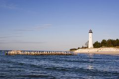 Phare croquant de point, Michigan Etats-Unis Image stock