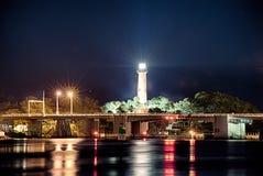 Phare d'admission de Jupiter la Floride la nuit photos stock