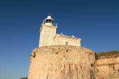 Phare d'architecture de bâtiments historiques d'été de Leucade Grèce Photos stock