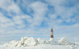 Phare d'hiver Photographie stock