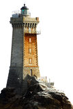 Phare d'isolement sur le blanc Photographie stock