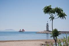 Phare dans Alanya, Turquie Photographie stock libre de droits