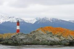 Phare dans la Manche de briquet chez Tierra Del Fuego, Argentine Image stock