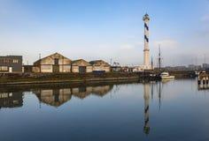 Phare dans la ville d'Ostende, Belgique image libre de droits
