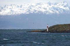 Phare dans le canal de briquet Tierra del Fuego l'argentine Photo stock